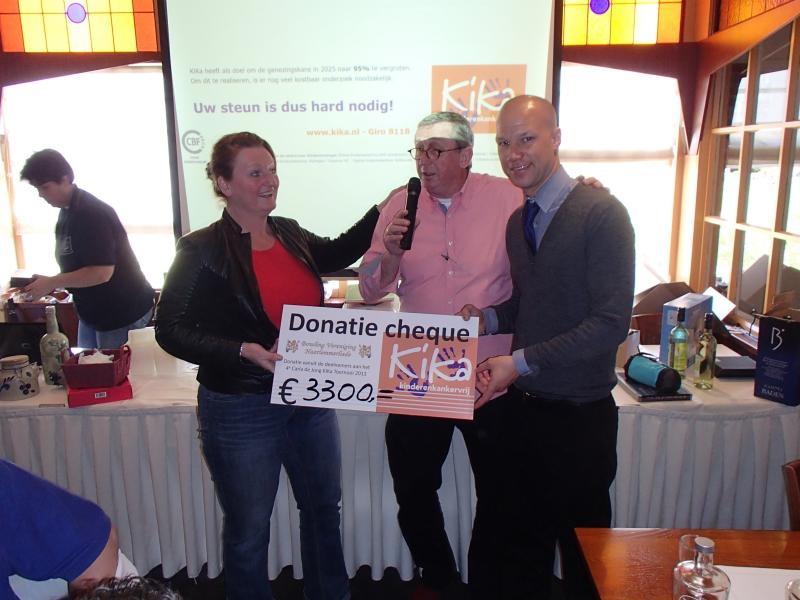 Overhandiging cheque aan KiKa fonds